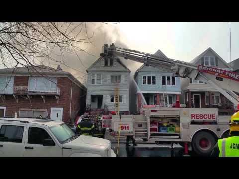 BAYONNE,NJ 4TH ALARM HOUSE FIRE (34TH ST) 2-16-15