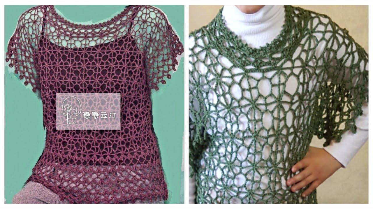 e3baba4ee40e2 بلوزة صيفي   فستان   بالكروشية وبالتفصيل خطوة خطوة الجزء الأول 1 3 Crochet  dress shirt