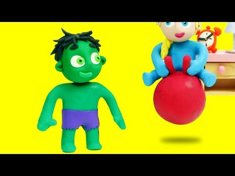 Baby Hulk & Baby Elsa Funny Play Doh Stop Motion Cartoon for kids