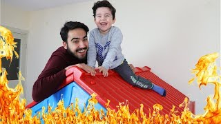 Yusuf and Uncle playing The Floor is Lava | Funny Kids Video