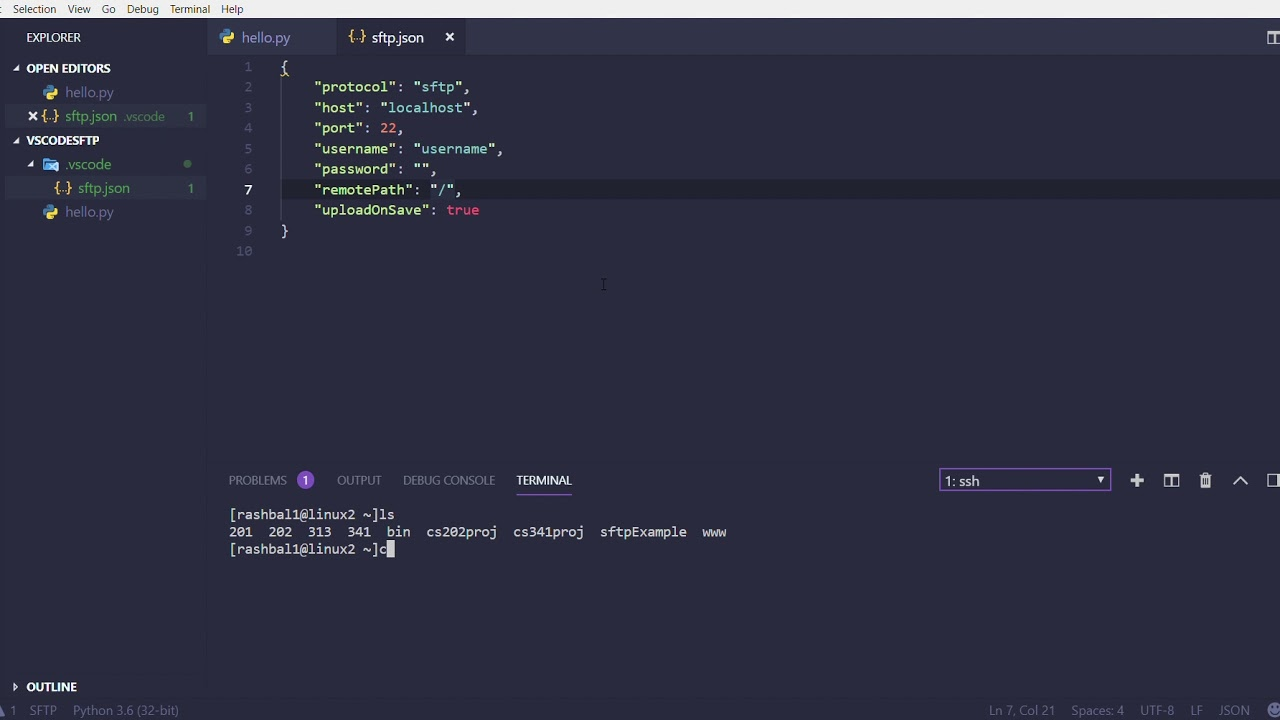 Visual Studio Code Tutorial: SFTP