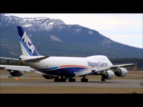 Boeing 747 takes off at Whitehorse, Yukon