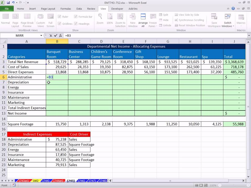 Excel Magic Trick 745 Allocating Indirect Expenses To Calculate