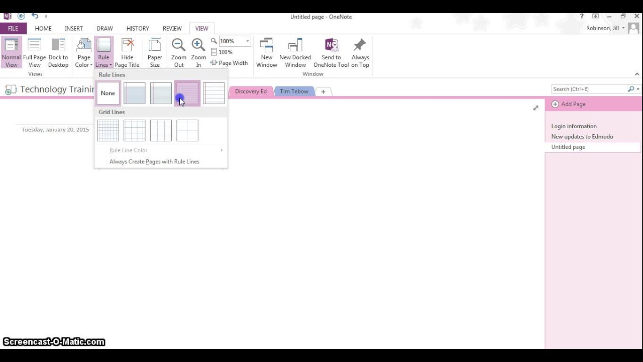 onenote applying page templates and ruled lines youtube