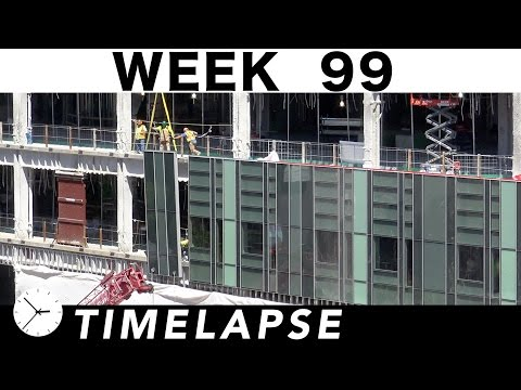 Construction time-lapse with 34 closeups Week 99: Curtain wall glass install, tower cranes, and more