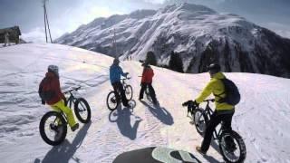 Fat biking in the snow + dog, Pischa, Davos, the Swiss Alps