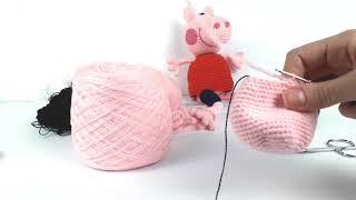 Свинка Пеппа крючком, мастер класс. Peppa pig crochet (Видео урок 3. Тело и платье)