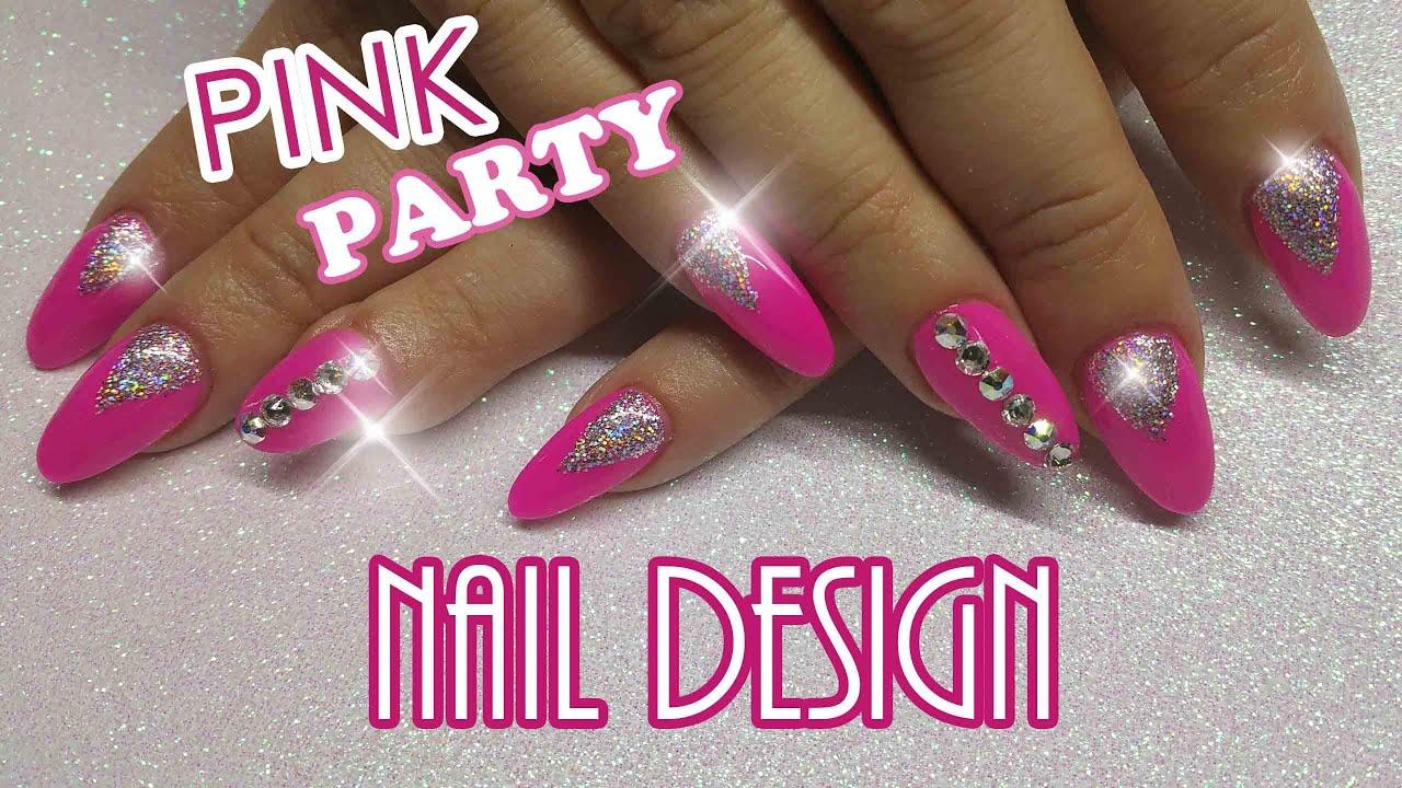 Hot pink glitter and swarovski crystal nail design hot pink glitter and swarovski crystal nail design ninjanailfairy youtube prinsesfo Images