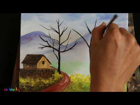 Landscape drawing in acrylic colors