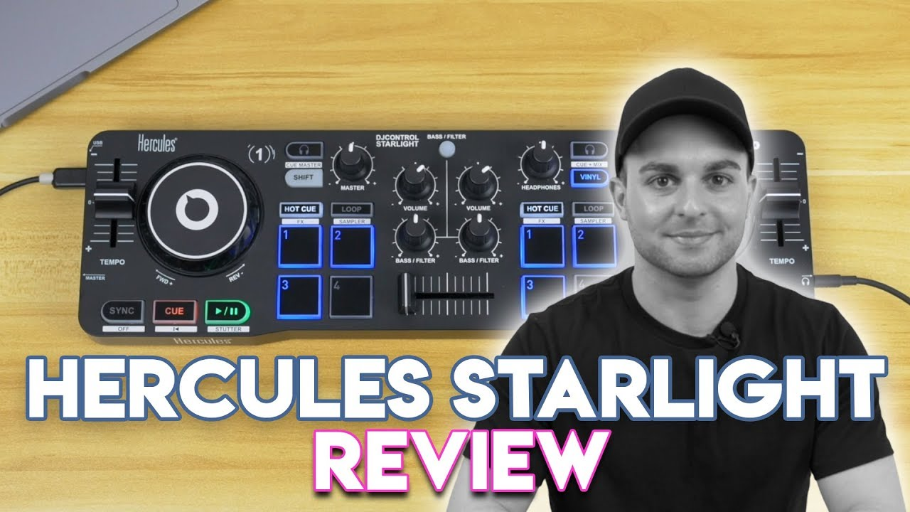 Hercules DJControl Starlight Pocket USB DJ Controller with Serato DJ Lite touch-sensitive jog wheels built-in sound card and built-in light show