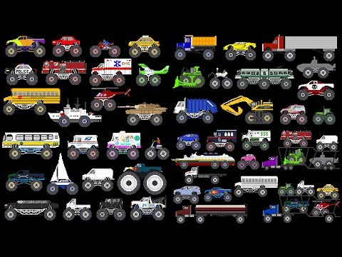 Monster Vehicles Collection - Monster Trucks - The Kids' Picture Show (Fun & Educational)