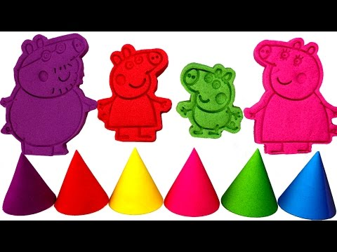 Peppa Pig Family Kinetic Sand Molds with Peppa, George, Mummy Pig and Daddy Pig