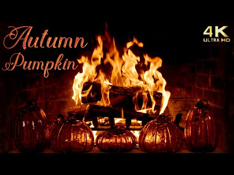 Autumn Pumpkin Fireplace - 4K Cozy Halloween Thanksgiving Background - Crackling - No Music