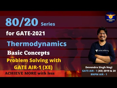 80/20 Series for GATE-2021 | Thermodynamics | Problem Solving with GATE AIR-1 (XE) |  Negi Sir