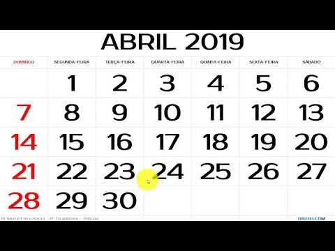 CALEND�RIO ABRIL 2019 COM FERIADOS NACIONAIS (EXPLICADO)