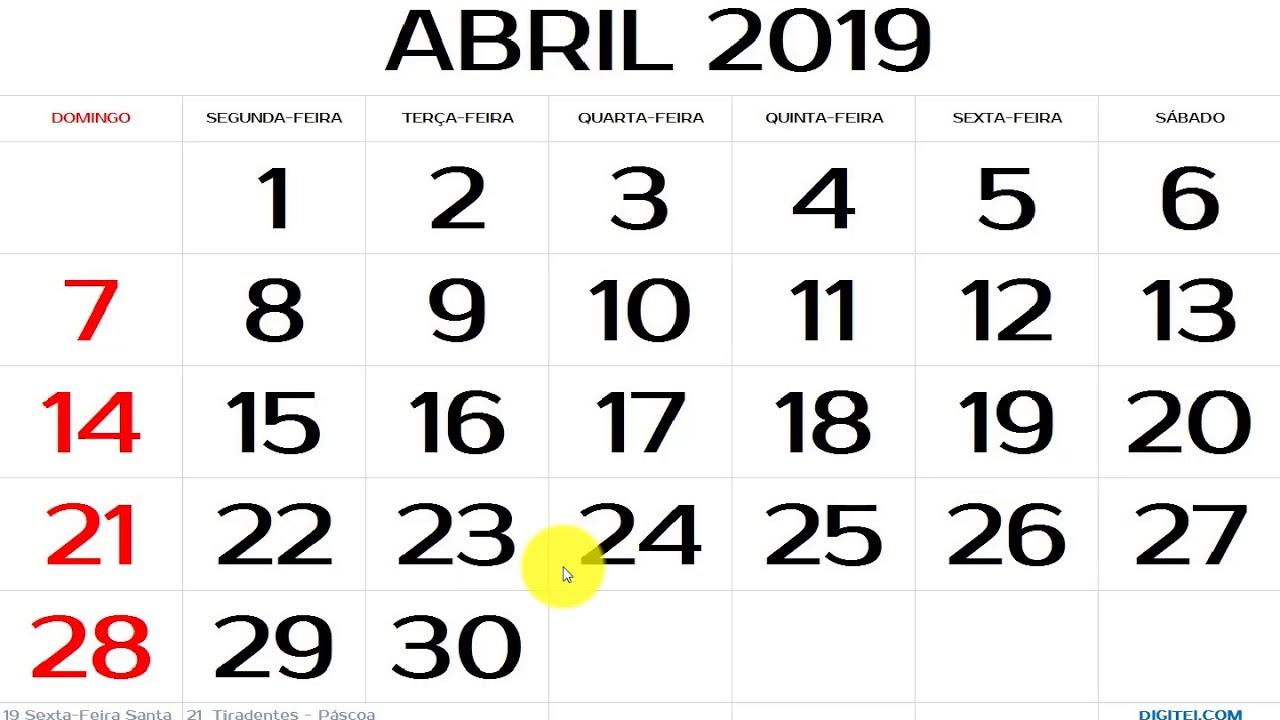 Calendario Mostre Foi 2019.Calendario Abril 2019 Com Feriados Nacionais Explicado