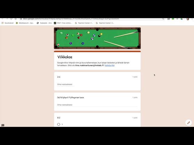 Google Forms sähköiset kokeet