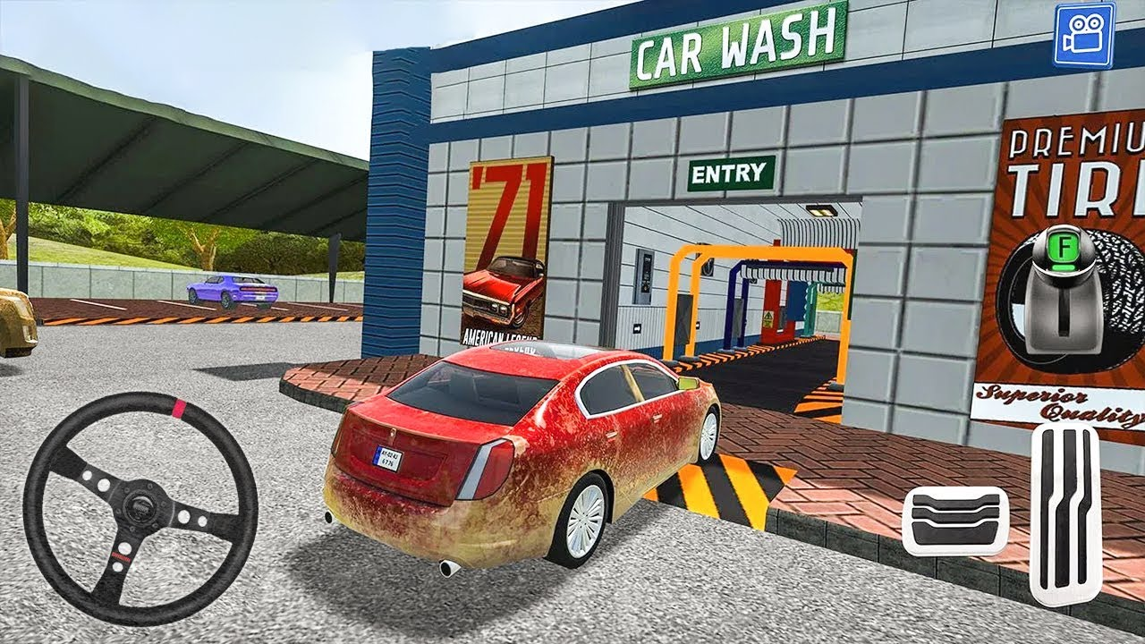 Car Wash Service Station - Red Car in Gas Station ...