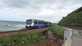 【五能線】リゾート白神「青池」深浦駅から広戸駅へ海岸線を走ります。