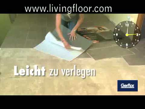 gerflor caractere die selbstklebende mineralische verbundfliese youtube. Black Bedroom Furniture Sets. Home Design Ideas