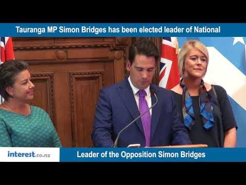 New National Party leader Simon Bridges addresses media