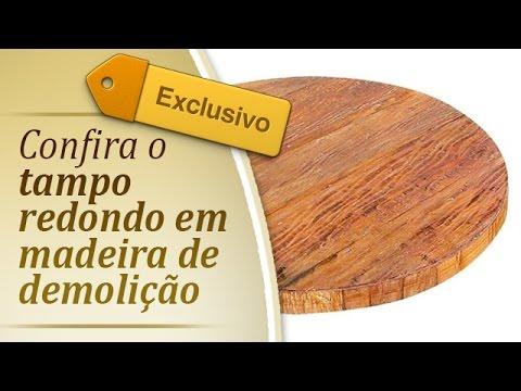 Móvel rustico - Tampo de madeira para Mesa - Mesa de Demolicao - Tampo redondo - móveis rusticos