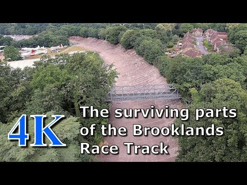 The surviving parts of the Brooklands Race Track June 2017 from above, in 4k UHD