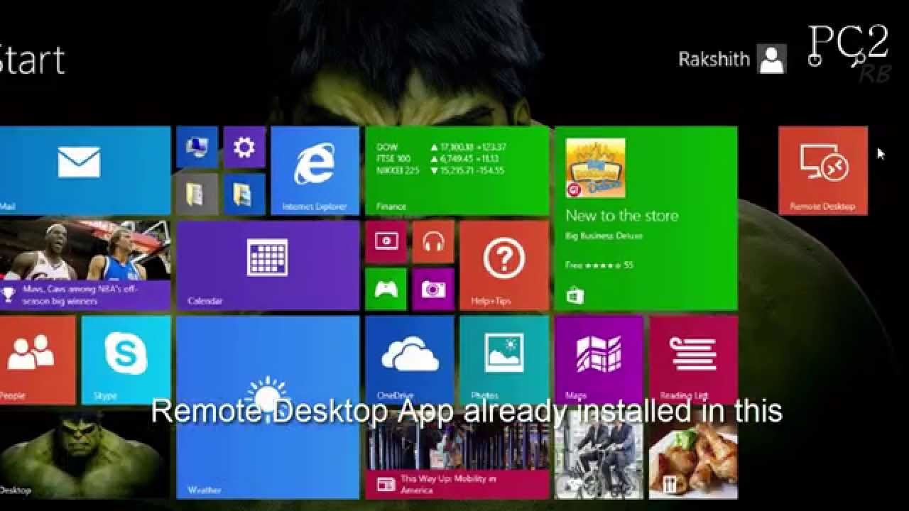 how to connect remote desktop windows 8.1