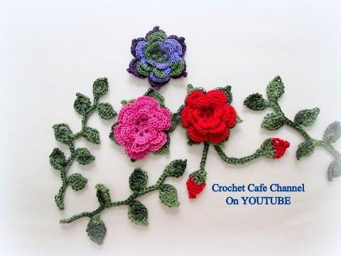 كروشيه وردة بعدة طبقات Youtube 12