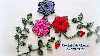 كروشيه وردة طبقات مع إطار من ورق الشجر |قناة كروشيه كافيه Crochet Cafe Channel