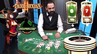 ONLINE BLACKJACK! LIGHTNING ROULETTE! High Stakes Slot Bonus Blood Suckers 1 & 2! £25 to £50 Spins!