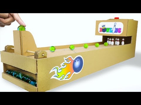 How to make Bowling Arcade Board Game from Cardboard DIY at HOME for KIDS
