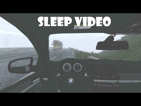 1h Rain Thunderstorm Weather Sleep Video - BMW X5 motorway, 1080p. Euro Truck Simulator 2