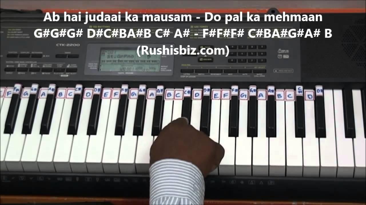 Ek do teen (tezaab) piano tutorials | 7013658813 pdf notes.
