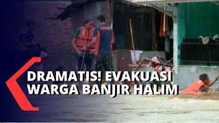Dramatis! Petugas Evakuasi Warga yang Terjebak Banjir di Halim