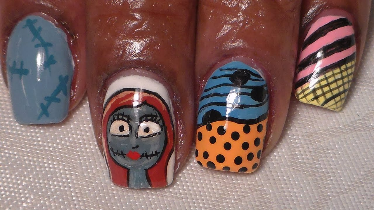Sally and her dress..Nightmare Before Christmas Nail Art - YouTube