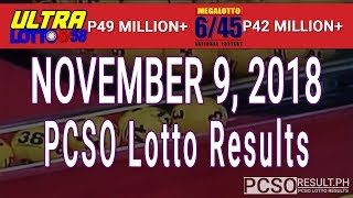 PCSO Lotto Results Today November 9, 2018 (6/58, 6/45, 4D, Swertres, STL & EZ2)