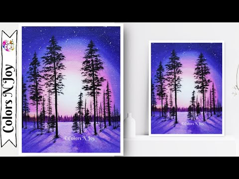 Moonlight Night Landscape Painting | Night forest painting | Step by Step Acrylic Painting on Canvas