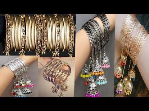 Silver  / golden metal bangles / kada with jhumka hangings    rajasthani / Indian fancy  bangles   