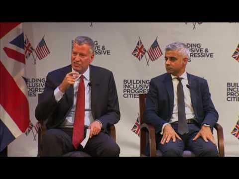 Mayor de Blasio Speaks at Building Inclusive Cities;  conversation with London Mayor Sadiq Khan