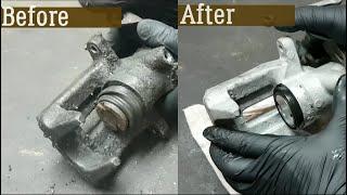 How to rebuild rear brake caliper - VW Audi Skoda Seat - New piston and seals (COMPLETE GUIDE)