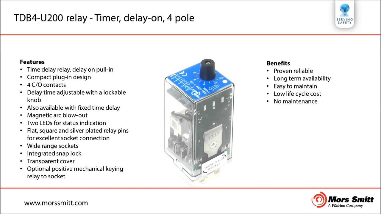 TDB4-U200 time delay relay - Mors Smitt railway components