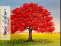 How to Paint Red Oak Tree Fall Landscape | Full Length Live Acrylic Painting Tutorial | Free Lesson