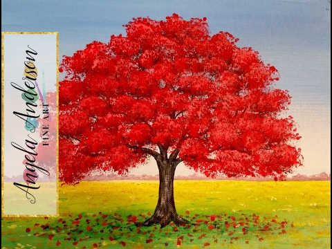 How to Paint Red Oak Tree Fall Landscape | Full Length ...