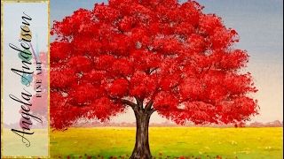 How to Paint Red Oak Tree Fall Landscape | Full Length Live Acrylic Painting Tutorial | Free Lesson(Join artist Angela Anderson as she teaches how to paint a simple fall landscape with a red oak tree. This free beginner lesson will be taught through live stream ..., 2015-10-03T20:11:16.000Z)