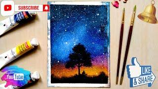 night easy sky painting beginners