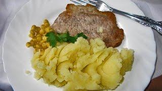 Жареное мясо с пюре
