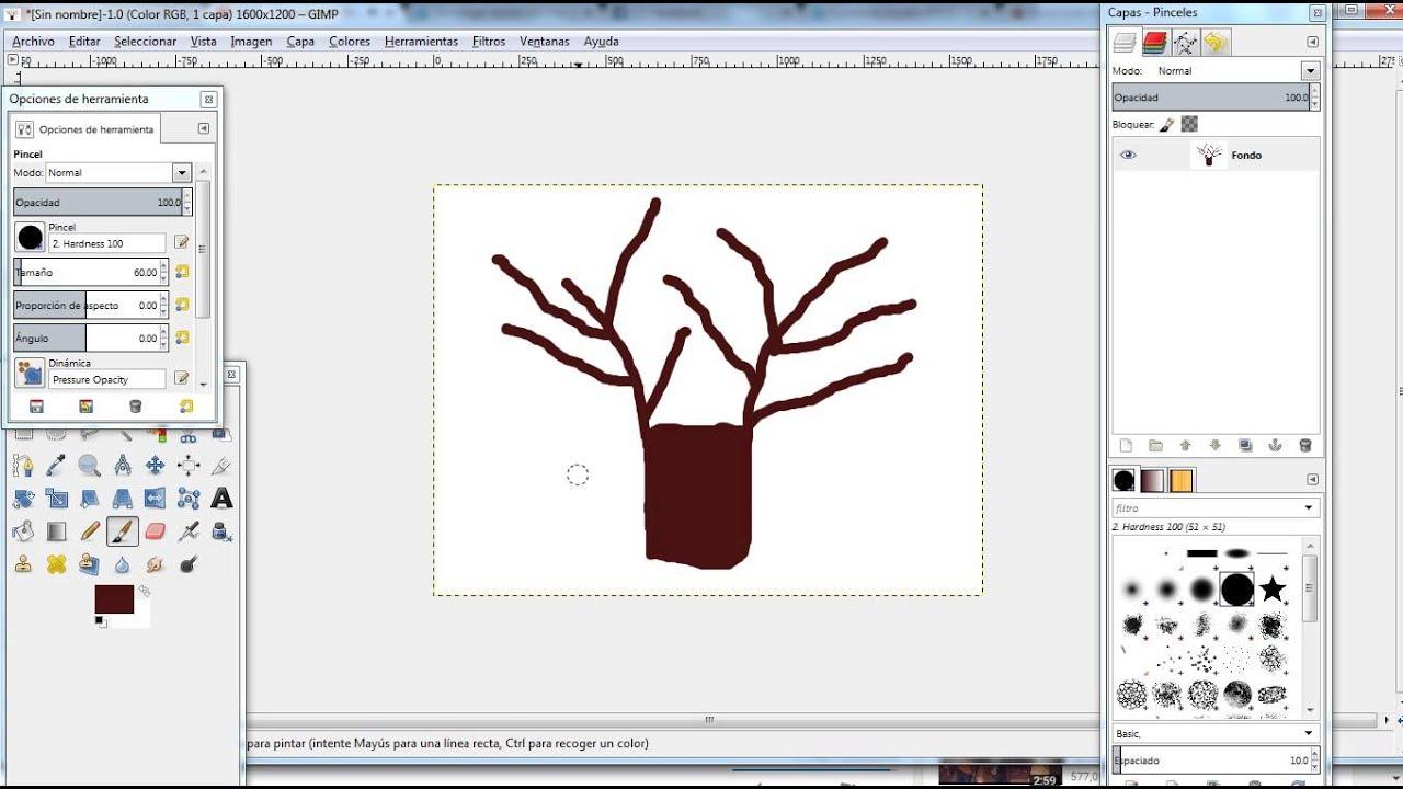 Dibujar rbol en GImp con la herramienta del pincel  YouTube