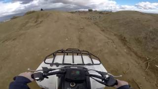 Kawasaki bayou 220 riding in the fields with our Honda Atc 110