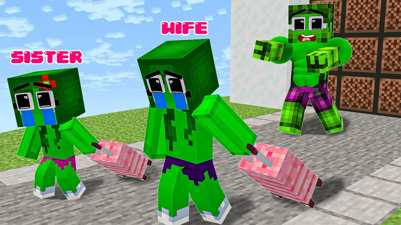 Monster School : Hulk Have A Good Wife And A Bad Wife - Sad Story - Minecraft